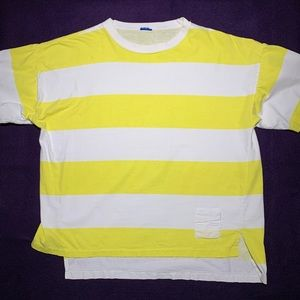 Vintage 80s Quiksilver striped yellow surfer tee